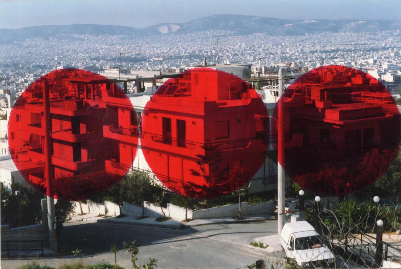 o.T. (Athen, Drei Rote Kreise), partiell gefärbte Farbfotografie auf Aluminium,  50 x 70 cm 1999